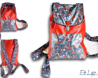 Backpack for women Liberty Manuela and red faux leather