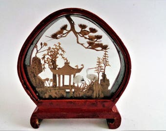 Chinese Cork Carving, Chinese Diorama, Cork Figurine, Picture Diorama of Two Cranes, Pagoda, cork artwork, Asia