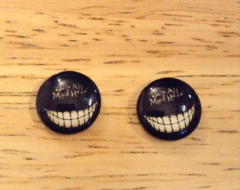 Alice in Wonderland Smiling Cheshire Cat We're All Mad Here Handmade Post Earrings