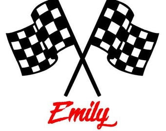 Racing flags with custom name or text car or cup vinyl decal