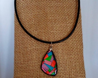 Polymer clay jewelry,Polymer clay necklace,Choker necklace,Unique jewelry,Polymer clay COLLAGE pendant,Gift for her