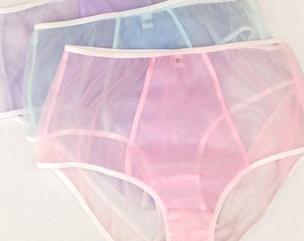 Sheer knickers - high waisted pink knickers, blue knickers, purple knickers, pastel knickers, pastel lingerie pink lingerie undies underwear