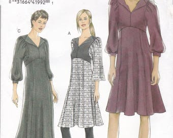 FREE US SHIP Vogue 8445 High Waist Empire Dress Sleeve Variations 2007 Size 6 8 10 12 Bust 30.5 31.5 32.5 34  Out of Print Sewing Pattern