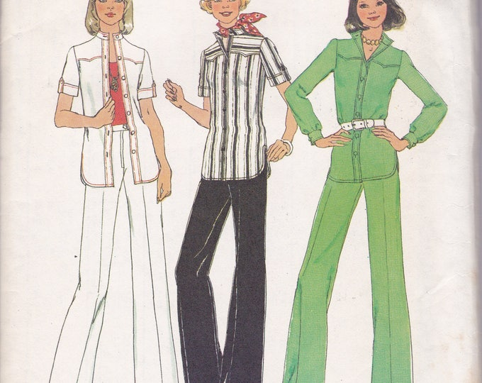 FREE US SHIP Simplicity 6875 Vintage Retro 1970's 70's Sewing Pattern  Size 14 Bust 36 Uncut Pantsuit High Waist Jacket Pants Wide leg ff