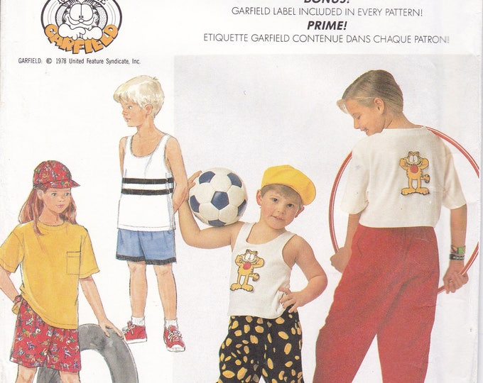 FREE US SHIP Simplicity 7250 Sewing Pattern Uncut Retro 1990s 90's Boy Girl Garfield Cat Collectible Hat Tank top Shirt shorts Label