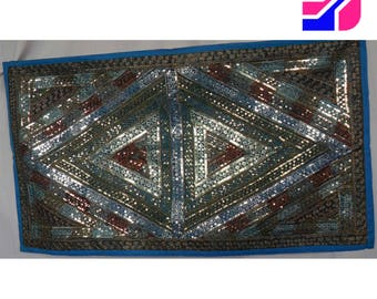 Beadwork Panel Wall Hanging Blue Brown Tapestry Intricate Sewn Sequins Pattern