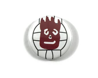 Castaway Wilson Volleyball Tom Hanks Fan Art  - 1 or 1.25 Inch Pinback Button Patch Pin Badge
