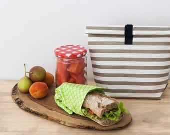 School lunch bag. Work lunch box. Kids snack bag. School Supply. Food Storage Bag. Kaky stripes
