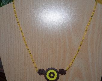 "Necklace ""Circles"" yellow and Brown, original"