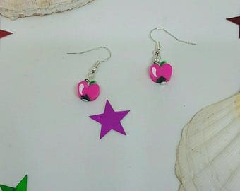 Pink fruit colored earrings