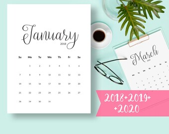 Calendar PRINTABLE 2018 Calendar 2018 Desk Calendar PDF Calendar Instant Download Calendar Pages Monthly Calendar Wall Calendar Printable