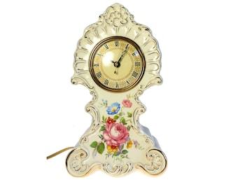 Porcelain Electric Mantel Clock w Telechron Movement Not Working