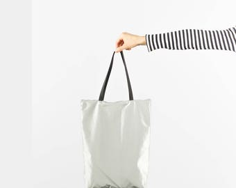 Minimal light backpack tote bag rucksack in silver grey nylon design plain simple handmade functional modern