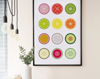 Fruit and vegetables print – Fruit print – Vegetable print – Fruit art – Kitchen art – Kitchen print – Food posters – Wall art – Home decor