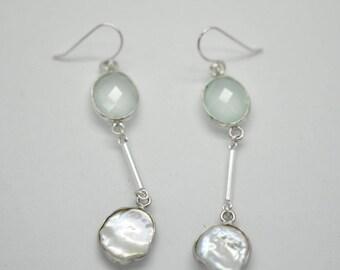 Chalcedony and Pearl Earrings Aqua Chalcedony and Fresh Water Pearl Sterling Silver Dangle Earrings