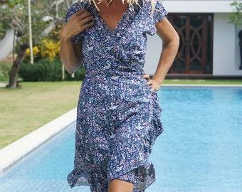Wrap belted short dress/Wrap frill short Dress/Bohemian wrap dress/Summer wrap frill dress * LOUISE SHORT DRESS