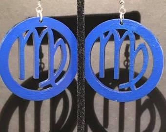 Blue Virgo SymbolEarrings