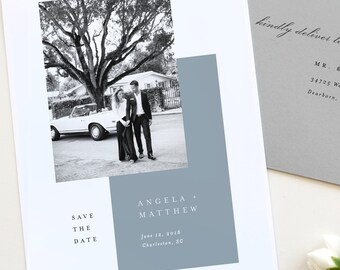Modern Save the Date, Photo Save the Date, Save the Date Card, Wedding Save the Date, Dusty Blue Save the date, black and white photo