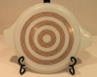 Vintage Pyrex Raffia Onion Casserole Lid - Pyrex Lid - Brown Ring Pattern Lid - Promo Pyrex
