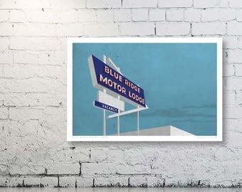 Blue Ridge Motor Lodge, Motel, Vintage, Travel Poster, Asheville