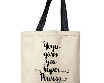 Yoga Gives You Superpowers Bag, Natural Tote, Funny Tote Bag, Yoga Bag, Canvas Tote Bag