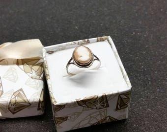 17.7 mm Art Nouveau silver 800 ring gem vintage antique SR890