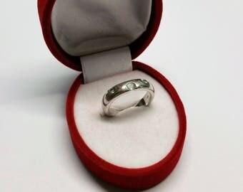 19.3 mm ring Silver 925 aquamarine spinel SR852