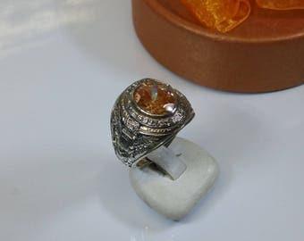 20.3 mm Ring Silver United States Army crystal-stone Orange Eagle SR150