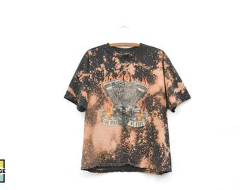 Custom Made Bleached Harley Davidson T-Shirt