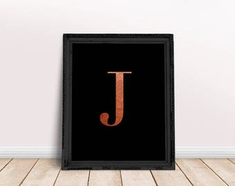 Rose Gold Letter J | Rose Gold Name Print, Rose Gold Nursery, Rose Gold Letter Art, Rose Gold Character, Rose Gold Foil Name, Alphabet Rose