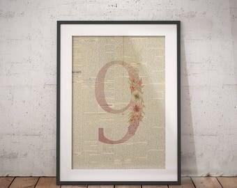 Nursery Number Nine   Nine Poster, Nine Number Art, Number Wall Art, Nursery Age, Nine Year Old, Nine Years Old, Floral Number
