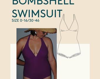Bombshell swimsuit PDF sewing pattern|Womens bathing suit PDF sewing pattern|Halterneck swimsuit women|Tankini 1 piece bathing suit pattern