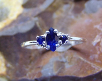 dark blue sapphire marquise white gold 14k cut double sapphire accented natural heated fast and free shipping 0.30 CWT 4x2mm yellow gold 14k