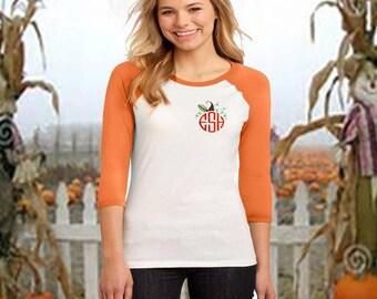 Monogrammed Halloween Shirt, Raglan Monogrammed Pumpkin shirt, Raglan Pumpkin T, Monogrammed Fall T, Halloween shirt, Monogrammed Bat T-ht01