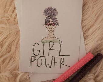 girl power galentines day handmade watercolor card