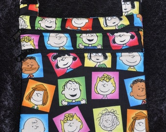 New! Peanuts Characters Fabric - Snoopy - Charlie Brown - Linus - Sally - Lucy Quilted Cross Body Messenger Bag - Tote - Shoulder Bag