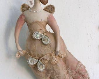 Textile Doll, Doll Sculpture, Handmade Doll, Textile Art, Fairytale Art, Soft Sculpture by Pantovola:  Babyll Moth Fae