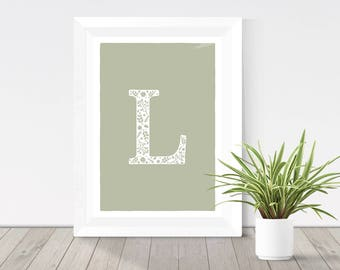 olive green letter print, floral initial, sage green monogram wall art, rustic home decor, silhouette print