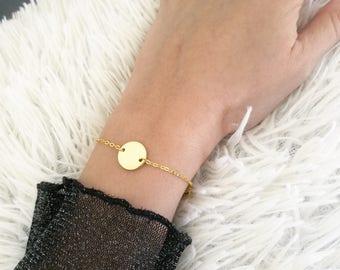 Disc Bracelet, Gold Disc Bracelet, Tiny Disc Bracelet, Dainty Disc Bracelet, Delicate Disc Bracelet, Dainty Bracelet, Delicate Gold Bracelet