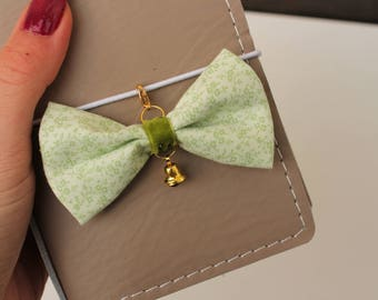 Sweet Lime -fabric bow traveler's notebook charm