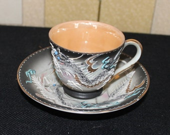 Unusual Hand Painted Raised Dragon China Cup and Saucer