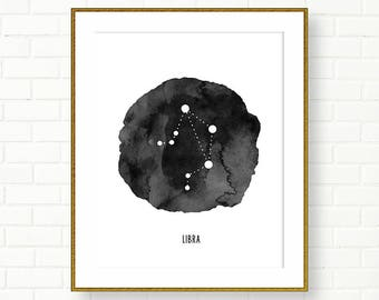 LIBRA, Zodiac Sign Print, Horoscope, Astrology, Printable, Constellation, Universe, Black White Wall Decor, Modern, INSTANT DOWNLOAD
