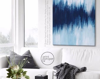 "ABSTRACT NAVY WHITE  ""Horizon"" - Art Print Poster Canvas - On Trend Scandi"
