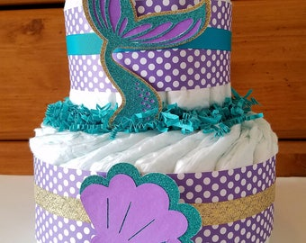 Mermaid Diaper Cake, Little Mermaid Baby Shower, Seashells, Under The Sea, 2