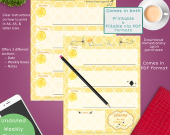 Queen Bee Weekly Planner Page