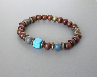 Boho Bracelet for Men, Turquoise Bracelet, Wood Bracelet, Southwestern, For Surfer, Native Jewelry, Friendship Bracelet, Valentines Gift