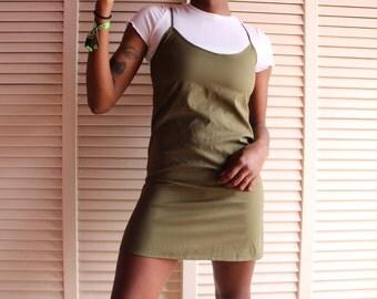 Retro Olive Green Slip Dress