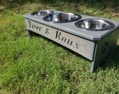 3 bowl dog feeder - NEW Gray stain it has a slight distressed look with the wood grains.