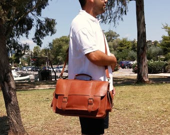 Leather Messenger Bag, Leather Briefcase, Full Grain Leather - Handmade in Greece. 4 COLORS AVAILABLE!