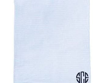 Baby Blanket Monogrammed –Baby Cotton stripe Blanket - boy or girl - baby Shower gift -  Pink or Blue